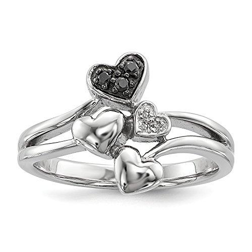 Sonia Jewels Anillo de Plata de Ley 925 Maciza con Forma de corazón de Diamante Blanco y...