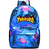 T-Thrasher Classic Flame Laptop Backpack Fashion Travel Daypack Galaxy Canvas Backpack