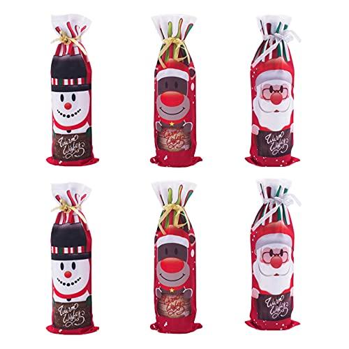 6 Pièces Sac De Bouteille De Vin De Noël Créatif De Noël Bonhomme De Neige Cerf Ensemble De Vin Sacs Cadeaux Bouteilles Sacs De Vin Rouge...