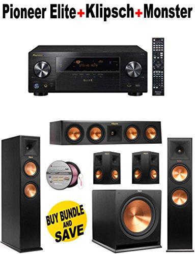 Pioneer Elite-VSX80 + 2 Klipsch-RP260FBK + Klipsch-RP440CBK + 2 Klipsch-RP250SBK + Klipsch-R112SW + Monster Cable-PLATXPMS50 Bundle