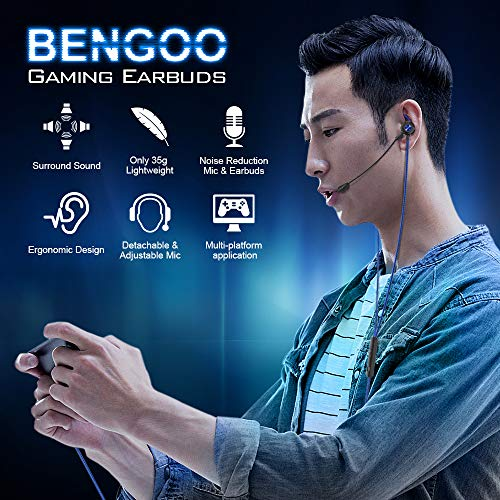 BENGOO G16 Gaming Earbuds Wired with Dual Microphone, in-Ear Gaming Headset Headphones with Noise Cancellation, Earphones for iPhone Playstation 4 5 Xbox One Nintendo Switch PC Sony PSP 3.5MM Jack