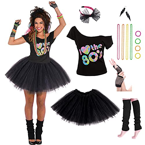 Women's I LOve The 80's Costume Set with Accessories. Sizes 2 to 16