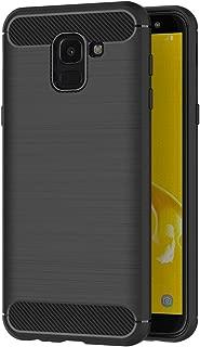 AICEK Funda Samsung Galaxy J6, Negro Silicona Fundas para Samsung J6 2018 Carcasa Galaxy J6 2018 Fibra de Carbono Funda Case (5,6 Pulgadas)