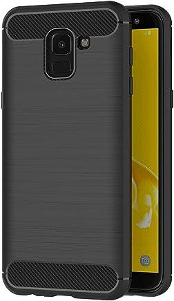AICEK Cover Samsung Galaxy J6 2018, Nero Custodia Samsung J6 Silicone Molle Black Cover per Galaxy J6 2018 Soft TPU Case (5.6 Pollici)