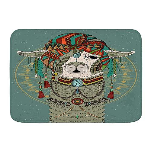VAMIX Badematten Bunte Kopfbedeckung, die Lama mit Zubehör Ohrringe Halskette abstraktes Tier trägt,45x75cm Badematte rutschfest Waschbar Badezimmer Teppich Weiche Hochflor Badvorleger aus