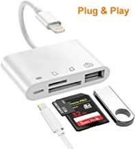 SD/TF Card Reader, 4 in 1 SD Card Reader Adapter with 1USB 2.0 OTG Interface, Digital Camera Reader Adapter, Trail Game Camera Viewer Compatible with iPhone/iPad, No App Required