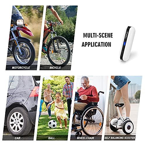 CYCPLUS Luftpumpe I50PSI Elektrischer Kompressor Tragbar Fahrradpumpe Mini Reifenpumpe mit Digital LCD LED Licht Wiederaufladbarer Li-ionen 12V für alle Fahrräder als Taschenlampe und Powerbank - 2