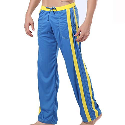 Wang Jiang Herren Sporthose Fitnesshose Loungwear Lounghose Jogginghose WJ Blau (S)