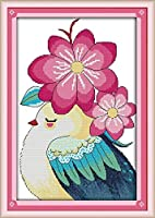 クロスステッチ刺繍 キット40x50cm DIY かわいい花と鳥 初心者刺しゅうキット11CTプリント済みキャンバスクロスステッチの布刺繍キット手作り家具の装飾