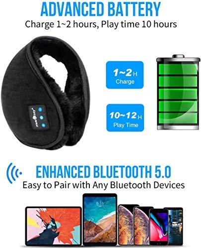 MUSICOZY Bluetooth Ear Warmers Earmuffs for Winter Women Men Kids Girls, Wireless Ear Muffs Headphones, Built-in HD Speakers and Microphone with Carry Bag for Biking Running Walking Hiking