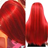 """LEKOUUUGU 24"""" Long Straight Wig Red Dyed Hair Wig with Dark Red Highlights Middle Part Synthetic Wigs Heat Resistant Party Cosplay Costume Full Wigs for Women Girls"""