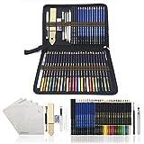 Farbstifte,Aquarellstifte Skizzieren Bleistifte,zeichnen zubehör set und federmäppchen groß - 54...