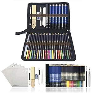 Lapices de Colores,Lapices Acuarelables,Lápices de Dibujo y Bosquejo Material de dibujo- 54Pcs Dibujo Artístico…
