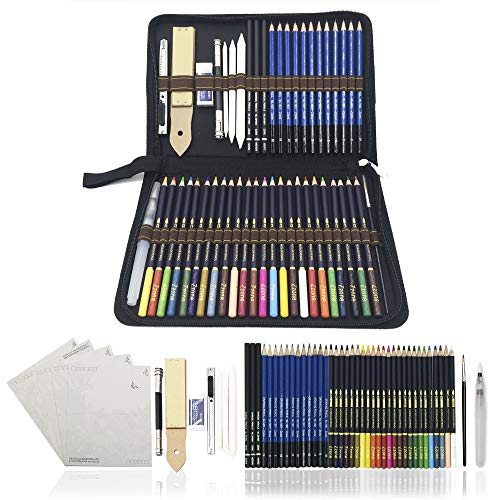 crayons de couleurs pastels aquarellables,54PCS Crayons de Dessin Crayons Croquis Art Set, materiel de dessin et personnalisé Grande trousse, Meilleur Cadeau pour les étudiants et artistes