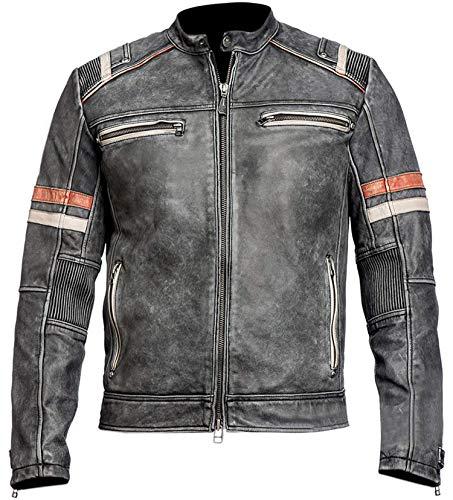 LP-FACON Herren Cafe Racer Vintage Biker Retro 2 Motorrad Used-Look Lederjacke Gr. M, Retro 2 Echtleder