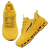 APRILSPRING Women Running Shoes for Women Non Slip Outdoor Sport Fashion Sneakers Lace Up Casual Shoes Non Slip Outdoor Sport Fashion Sneakers Lace Up Casual Shoes Yellow,US 5.5