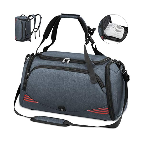 51WQ9jAJBBL. SS600  - NUBILY Bolsa Deporte Hombre Bolsas Gimnasio Mujer Bolso Fin de Semana Viaje con Compartimento para Zapatos Gym Bag…