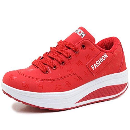 Cuña Plataforma Aptitud Zapatos Mujer Zapatillas de Deporte Casual Correr Sneaker,Rojo,EU39=CN40