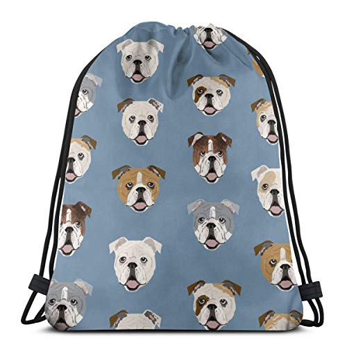 vintage cap English Bulldog Faces Cute Dog Face Cute Design for Pet Lovers English Bulldog Owners Love Dogs_6107 3D Print Drawstring Backpack Rucksack Shoulder Bags Gym Bag for Adult 16.9\
