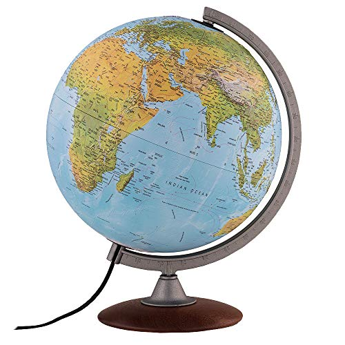 """Waypoint Geographic Tactile Light Up Globe with Raised Relief - 12"""" Desk Decorative Illuminated..."""