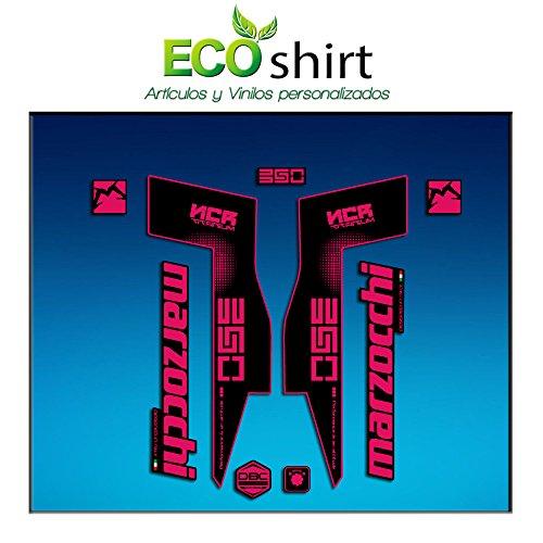 Ecoshirt TV-LMFH-1XG9 Stickers Fork Marzocchi 350 NCR Titanium Am72 Aufkleber Decals Autocollants Fourche Gabel Fourche Fourche Rose