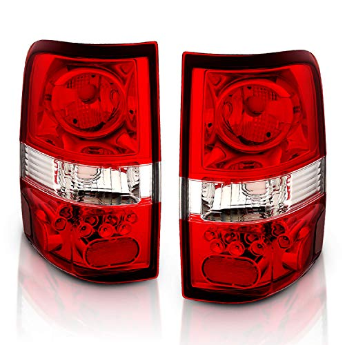 AmeriLite Red/Clear Euro Tail Lights for Ford F-150 - Passenger and Driver Side