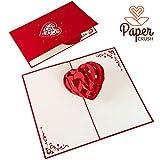 PaperCrush® Pop-Up Karte Valentinstag 3D Herz - Besondere Valentinstagskarte für