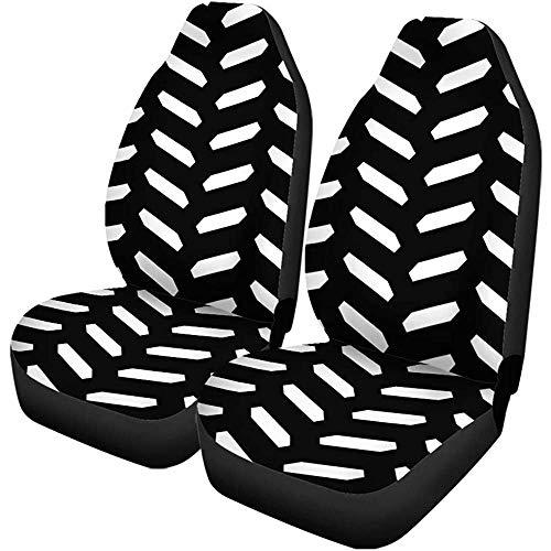 Enoqunt Autositzbezüge Herringbone Muster Weiß Sechsecke Tessellation Mosaik Parkett Schwarz Zickzack 2er Set Protektoren