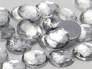 22mm Crystal Clear H102 Flat Back Round Acrylic Gems Pro Grade - 20 Pieces