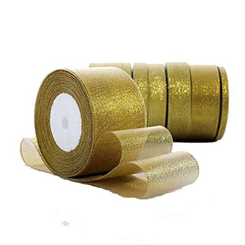 Da.WA Gold Ribbon roll Bow glitter Ribbon Crafts nastro da regalo fai da te per decorazioni feste di matrimonio, lunghezza 22 m, larghezza 0,6 – 5 cm per opzione., Poliestere, Gold, 22m*5cm
