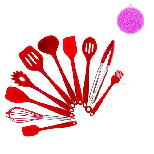 CRESTGOLF Juego de utensilios de cocina de silicona, 11 Uds, Espátula para cocinar, herramientas resistentes al calor, utensilios de cocina antiadherentes que no se rayan(red)