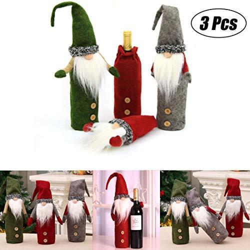 Achort 3er Flaschen Beutel Flanell Material Bottlebag Weihnachtsmann Bild Flaschen abdeckung für Wein Flasche Weihnachten Tasche für Weihnachts Geschenk Verpackung Größe: 8*25.5cm