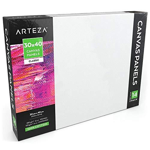 Arteza Blanco canvas-board van 30x40 cm, 14-delig, Geprepareerd canvas-doek van 100% katoen voor schilderen met diverse soorten verf, Schildersdoek voor kunstschilders en amateurschilders