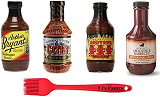 Kansas City BBQ Sauce Variety Sampler Gift Pack, Curated Assortment of Barbecue Sauces Variety Pack of 4 with Silicone Basting Brush (Variety #2)