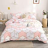 Pink Marble Bedding Light Pink Marble Duvet Cover Set Geometric Marble Texture Printed Design Geometric Girls Bedding Sets Queen 1 Duvet Cover 2 Pillowcases (Queen, Pink)