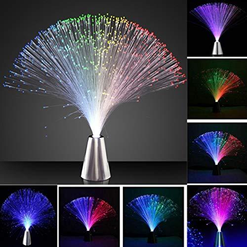 Mobestech - 4 luces LED de fibra óptica de fibra óptica que cambian de color, lámpara de fibra óptica, luces de noche decorativas para decoración del hogar, bar, cafetería
