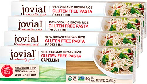 Jovial Capellini Gluten-Free Pasta | Whole Grain Brown Rice Capellini Pasta | Non-GMO | Lower Carb | Kosher | USDA Certified Organic | Made in Italy | 12 oz (4 Pack)