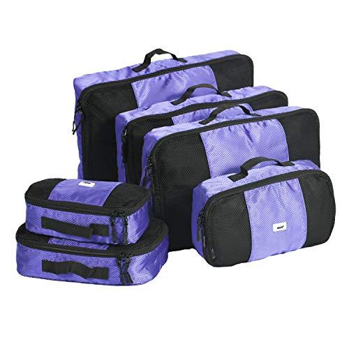 ANSIO Cubi da imballaggio, Set organizer per bagagli da viaggio, Cubi da viaggio, Valigia per borsa di compressione, Portaoggetti per la casa, Piccolo, Medio, Grande, XL - (Set da 6 pezzi) - Viola