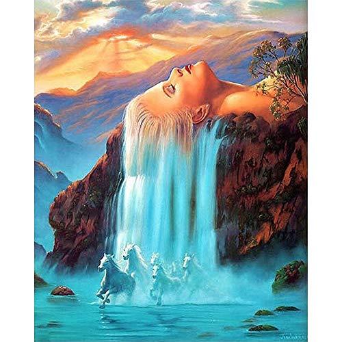 yaonuli Nach der digitalen Tropfenmalerei DIY Haar Wasserfall Landschaft Wandbild Acrylmalerei 40x50cm Rahmenlos