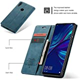 Freezon Case for Huawei P Smart 2019, Elegant Retro Leather with ID Credit Card Slot Holder Flip Cover Stand Magnetic Closure Case for Huawei P Smart 2019-Blue