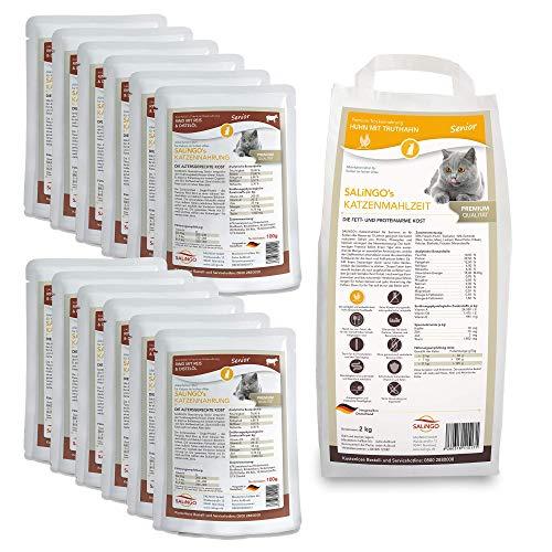 SALiNGO Katzenfutter nass und trocken Probierpaket Senior | zuckerfrei | für ältere Katzen