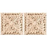 Enerhu 2 Pack Wood Carved Applique Onlay Square Carving Decal Unpainted Flower Door Cabinet Furniture Decoration 3.94x3.94inch #26