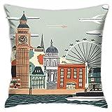 London - Funda de cojín decorativa para sofá o dormitorio, 45,7 x 45,7 cm