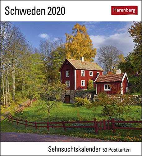 Sehnsuchtskalender Schweden - Kalender 2020 - Harenberg-Verlag - Postkartenkalender mit 53 heraustrennbaren Postkarten - 16 cm x 17,5 cm