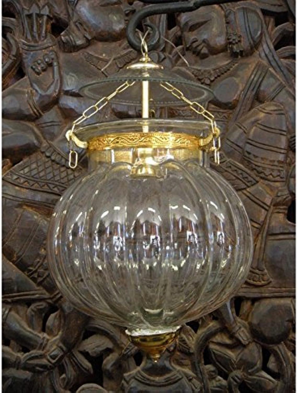Int. d'ailleurs - Indische Lampe KHARBUJA mit transparentem Quellglas 22x22 cm - LAMP001