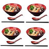 JSMY 4 Set di Ciotole per Ramen(12 Pezzi) Ciotola per zuppa in Stile Giapponese con cucchi...
