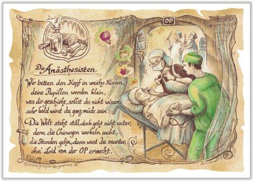 Geschenk Anästhesist Zeichnung Color 20 x 15 cm