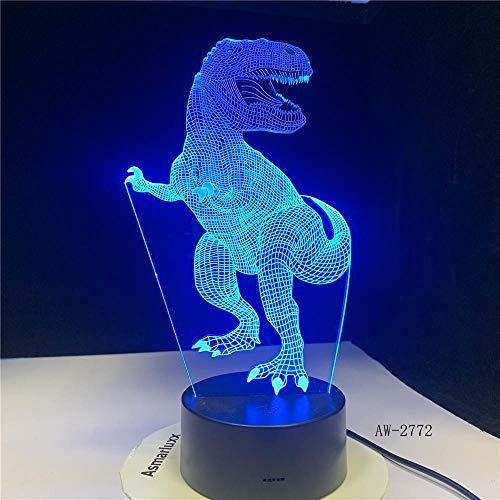3D Dinosaurier Illusionslampe Velociraptor 3D Nachtlicht Tisch Schreibtischlampe 7 Farben Ändern 3D Optische Täuschung Lichter Geschenke Fernbedienung