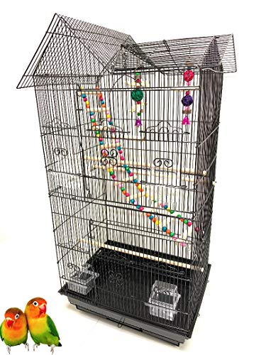 37-Inch Large Portable Double Roof Top Hanging Flight Bird Cage Play Toy Ladder For Small Parrot Cockatiel Sun Quaker Parakeet Green Cheek Conure Finch Canary Budgie Lovebird Travel Bird Cage (Black)
