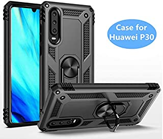 for Huawei P30 Metal Ring Holder Case, Impact Resistant Silicone Suppost Back Cover Case for Huawei P30, Black Shell Case for Huawei P30